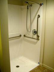 Each of the independent living senior apartments has no-step shower for residents with limited mobility.