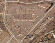 A view from the air before the shopping center was demolished.