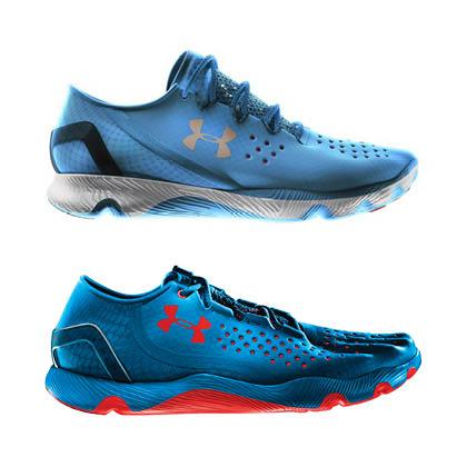 Above, Under Armour's new SpeedForm Apollo shoe, set to debut in late February. Below, the company's RC running shoe, which hit shelves in early 2013. The retailer says their are differences between the two.
