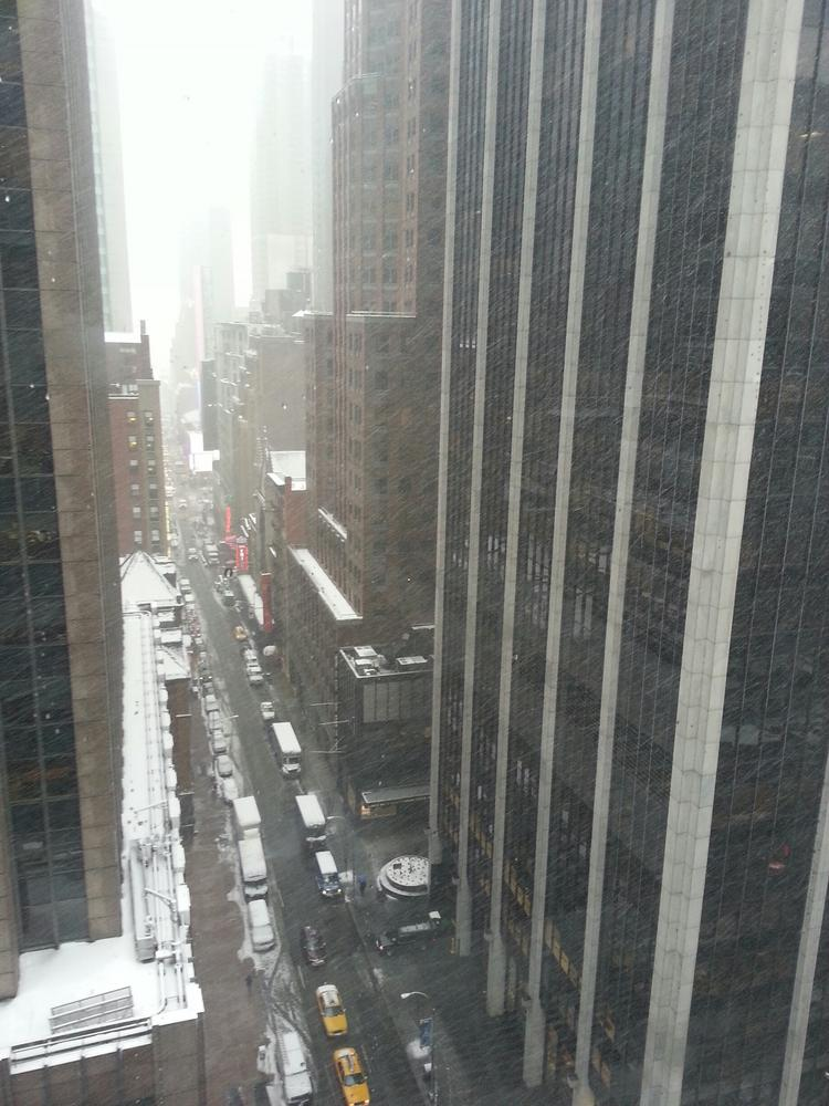 Heavy snow reduced visibility and wreaked havoc with travel the day after Super Bowl XLVIII in New York-New Jersey.