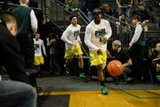 "The Oregon basketball team wore special warmups with the phrase ""Phil it up"" as part of the effort to pack the arena in honor of Knight."