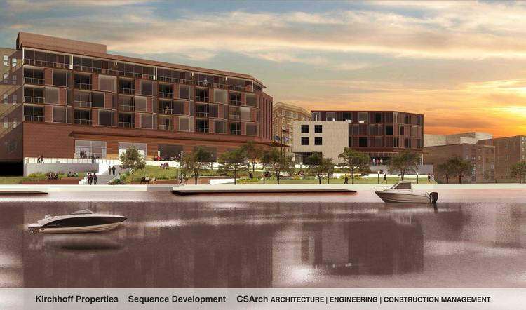 A rendering of the proposed riverfront development in Troy, NY, which would be built on the former site of city hall.