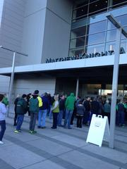 Fans lined up outside the arena in order to get first crack at the bobbleheads.