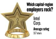 No. 2. Intel Corp., with an average rating on Glassdoor.com of 3.7 stars (of 5.0 possible) from 2,212 employees worldwide. It has 6,500 employees in the Sacramento region.