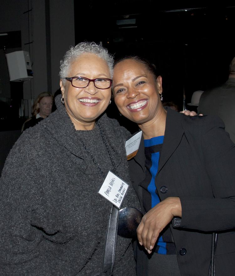 Pamela Haynes of the Los Rios Community College District poses with Johanna Williams of the Office of the California Attorney General at the California Women Lead legislative welcome reception.