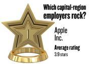 No. 1.  Apple Inc., with an average rating on Glassdoor.com of 3.9 stars (of 5.0 possible) from 1,950 employees worldwide. It has 1,800 employees in the Sacramento region.
