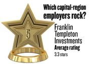 No. 5. Franklin Templeton Investments, with an average rating on Glassdoor.com of 3.3 stars (of 5.0 possible) from 119 employees worldwide. It has 1,000 employees in the Sacramento region.