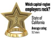 No. 6. (tie) State of California, with an average rating on Glassdoor.com of 3.2 stars (of 5.0 possible) from 72 employees locally. It has 73,746 employees in the Sacramento region.