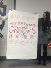 This is an example of a slogan for Sacramento illustrated at Monday's Brandathon: The Good Life Grows Here.