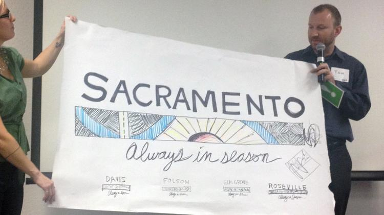 When the effort to find a slogan for the Sacramento region resumes Thursday, the future of one leading tagline will be interesting to watch, because a similar tagline has been picked up for state marketing.