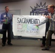 This is an example of a slogan for Sacramento illustrated at Monday's Brandathon: Always in season. Next, finalists will present advanced pitches for their slogans in a process that's expected to include feedback from both the public and celebrity judges who have knowledge of branding and ties to the Sacramento region.