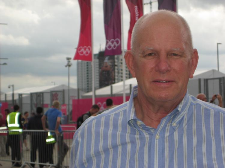Public relations strategist Dan McConnell at the entrance to London's Olympic Park.