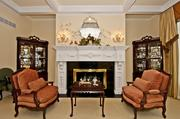 The parlor of Grand Finale has a fireplace that was imported from England.