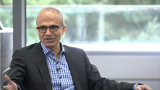Satya Nadella, the new CEO of Microsoft Corp., did an interview that was webcast from the company's website Tuesday afternoon. He discussed renewing the company through innovation.