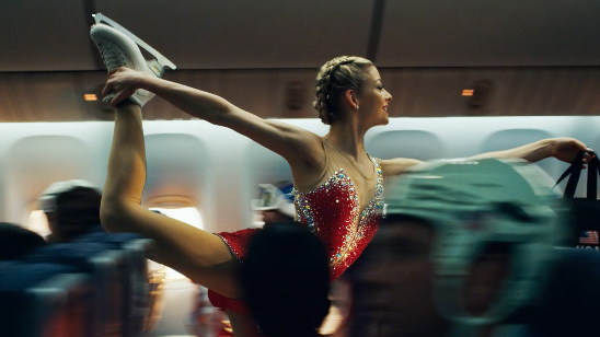 Chicagoan and reigning United States women's figure skating champion Gracie Gold skates down the airplane aisle in United's new Olympic spot.