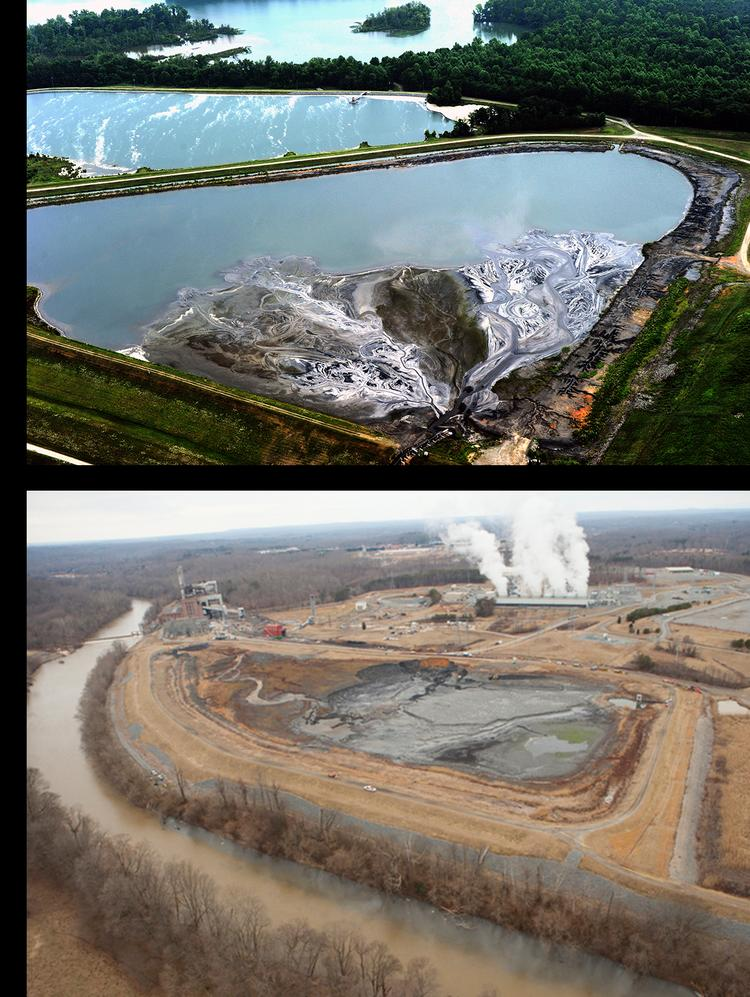 The ash ponds at Duke Energy's Riverbend plant (top photo by Nancy Pierce) Dan River (bottom photo by Greenpeace) both sit adjacent to state waterways.