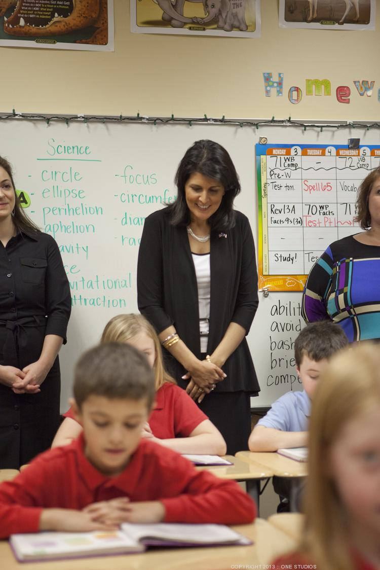 South Carolina Gov. Nikki Haley recently visited both Franklin Academy and Thales Academy in Wake Forest.