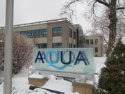 Plenty of aqua —as well as ice and snow — at the corporate headquarters of Aqua America Inc. (NYSE: WTR) in Bryn Mawr, Pa.