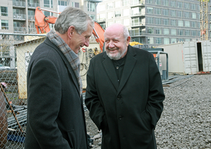 Portland Mayor Charlie Hales, left, and developer Homer Williams at the groundbreaking of a Pearl District hotel project funded by immigrant investors through the federal EB-5 program. An industry group reports the impact of EB-5 investing doubled in the U.S. in 2012 to nearly $4.3 billion.