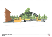 A drawing of HKS Architect's designed entrance for the sports complex.