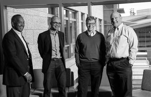 Generations of Microsoft: from left, John Thompson, Satya Nadella, Bill Gates and Steve Ballmer