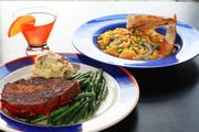 Marge's meatloaf at Betty's with garlic red-skinned mashed potatoes and skillet green beans along with a side of macaroni and cheese and a Tang Martini.
