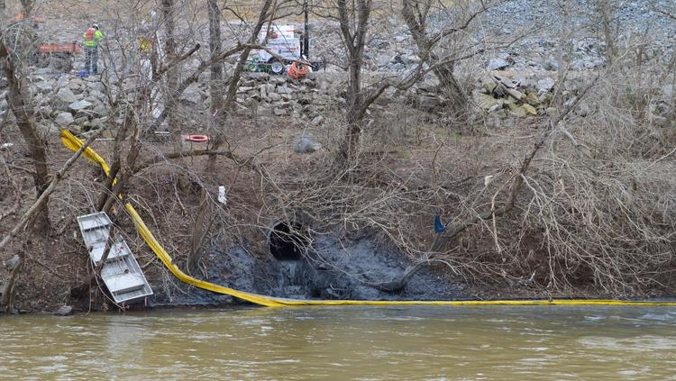 Coal ash spills into the Dan River in North Carolina after a stormwater pipe broke beneath a coal ash pond at a retired Duke Energy power plant.