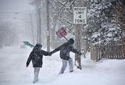 Two friends search for work on Eastern Parkway in Schenectady, NY.