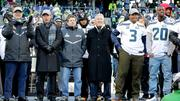 From left, Paul Allen, owner of the Seahawks, Peter McLoughlin, President, John Schneider, General Manager, Head coach Pete Carroll, quarterback Russell Wilson, and Jeremy Lane listen to the cheering fans at CenturyLink stadium to celebrate the Seahawks Super Bowl victory.