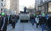 Seahawks player Marshawn Lynch rode on the hood of a Duck throwing Skittles to the crowd during the victory parade.  Seattle police early on estimated that more than 700,000 people turned out of the Seahawks Super Bowl victory parade on 4th Avenue in downtown Seattle.