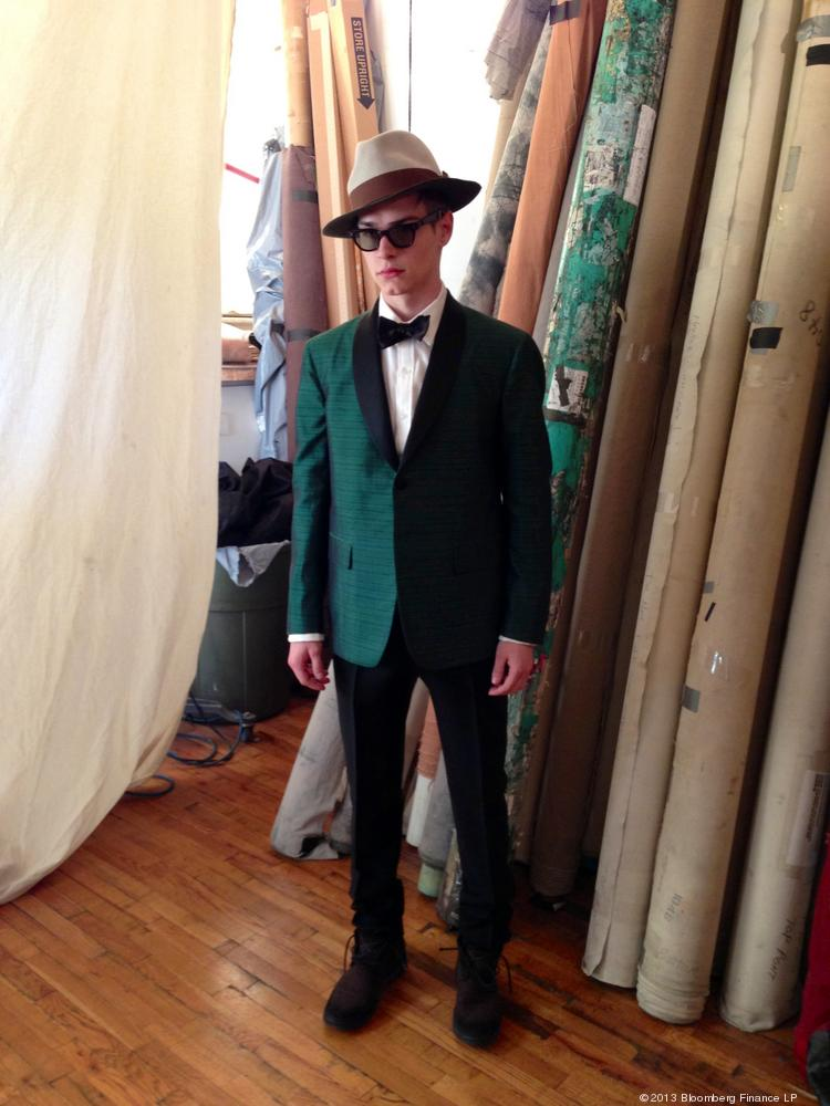 A model wears a green-silk tuxedo jacket, designed by David Hart & Co., in New York. American designer David Hart will be presenting his collection at his debut show for Mercedes-Benz Fashion Week on Feb. 7.