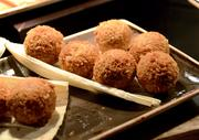 Tamalitos fritos: Roasted corn tamale balls, fried and served with guajillo aioli. Sounds good, tastes good.