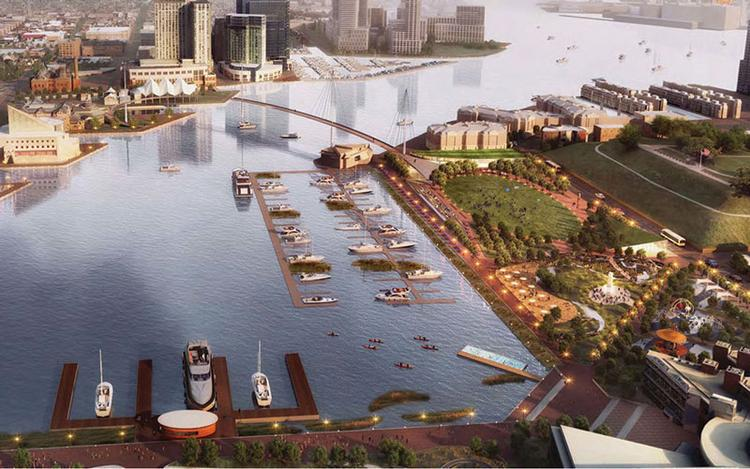 A rendering of Inner Harbor 2.0 shows a proposed bridge across the harbor.