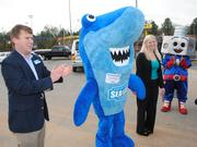 Sharky and other sea creatives arrive at the Charlotte-Concord Sea Life Aquarium this morning.