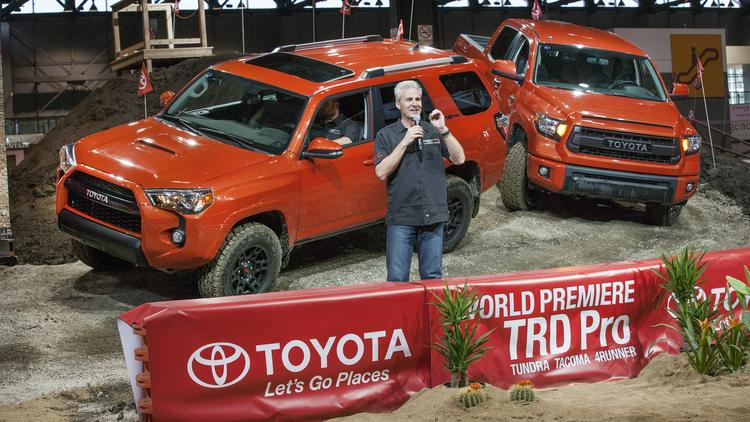 Jack Hollis, Toyota vice president of marketing, introduces the all new TRD Pro Series of off-road vehicles — the 2015 Toyota Tundra, 4 Runner and Tacoma — on Thursday at the 2014 Chicago Auto Show.