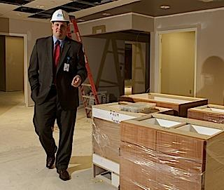 Martin Boryszak keeps tabs on the latest improvement project at the St. Joseph campus of Sisters of Charity Hospital. He is vice president for operations at the Cheektowaga campus.