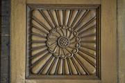 A sunburst carving in a wood panel from the Plankinton Mansion. The same image was repeated in other wood pieces in the house.