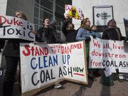 In the wake of a coal ash spill into the Dan River in northern North Carolina, a group of protesters demonstrated outside Duke Energy Corp.'s headquarters.