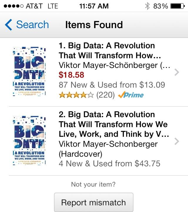 The new version of Amazon's iPhone app will scan products without bar codes and put them into your shopping list. It worked instantly with this book.