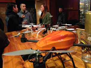 The crew from Aerial Technology International brought some of the unmanned aerial vehicles it sells to the Feb. 5 kickoff of Drone Prize.