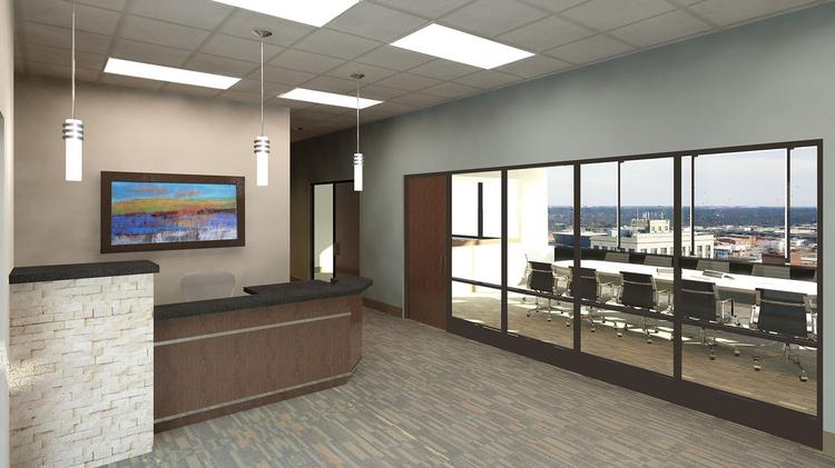 This is a rendering of one of the spec office suites for the 17th floor of 125 N. Market.