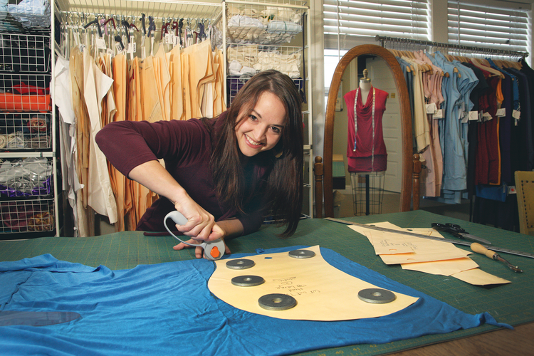 Annie Weinert designs and cuts all the patterns for Volacious Apparel's clothing line, which is manufactured by a Portland-based seamstress.
