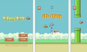 Screen captures from Flappy Bird on iTunes.