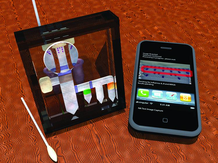 This simulation shows the pieces necessary for a field-based diagnostic test, including a swab, a smartphone and the testing device.