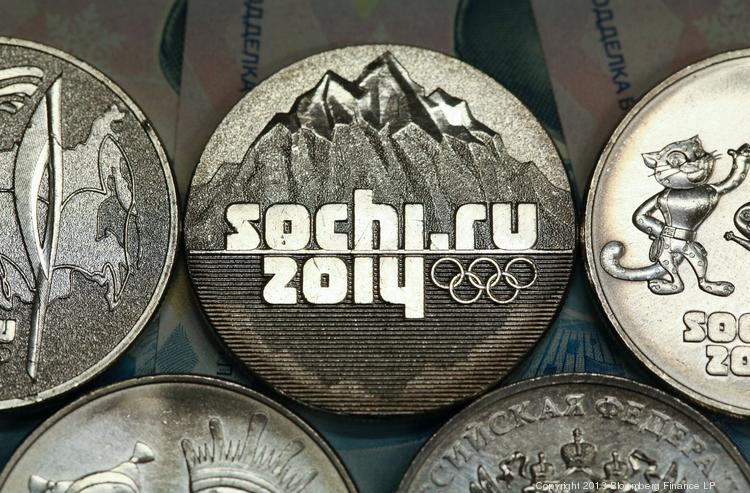 The Sochi Winter Olympics are under way. The Olympic rings are featured on 25 ruble denomination coins, commemorating the Sochi 2014 Winter Olympics.