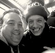 """Famous people go to the Super Bowl, like Theo Rossi who plays """"Juice"""" on Sons of Anarchy."""