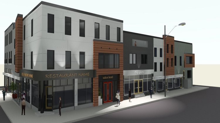 A rendering of the new boutique hotel at 5th and Bainbridge Streets.