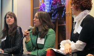 Liz Salcedo, the founder of Everpurse, center, is joined by Emma  McClendon, of the Museum at FIT, left, and Mindy Bickel of the U.S. Patent & Trademark Office, right, during a panel discussion hosted by The Fashion Law Institute at Fordham Law School Friday.