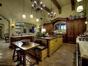 The kitchen, which features custom woodwork.