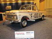 A 1963 Ford F-100 XL pickup modified for drag racing.
